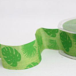 Ruban vert imprimé feuillage
