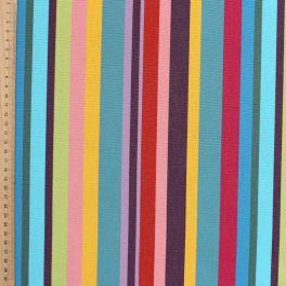 Tissu d'extérieur bayadère multicolore toucan