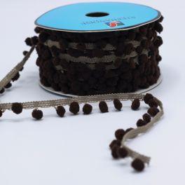 Galon à pompons taupe et brun