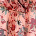 tissu en maille légère  à fleurs rouges vertes sur fond rose