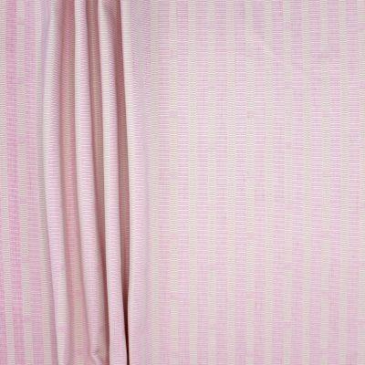 Tissu double face coton et viscose rayé rose et beige