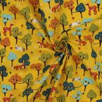 Cotton fabric with grey whales design