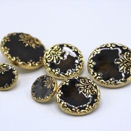 Boutons aspect métal doré et émaill bronze