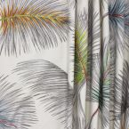 Green cotton and polyester fabric with white trees