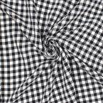 Gekreukelde polyester Vichy zwart en wit