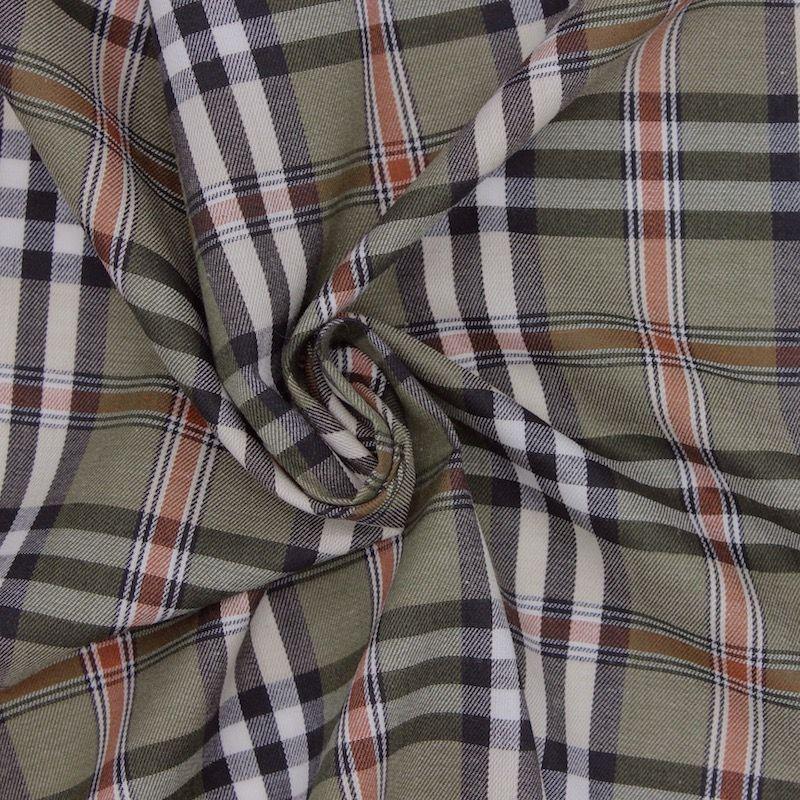 Katoen en Polyester met ruiten. Blauw en Wit