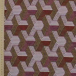 Jacquard stof met zwart geometrische patroon op beige achtergrond