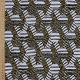 Jacquard fabric with black geometric design on a beige background