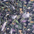 Tissu jersey perroquets et végétaux bleu nuit