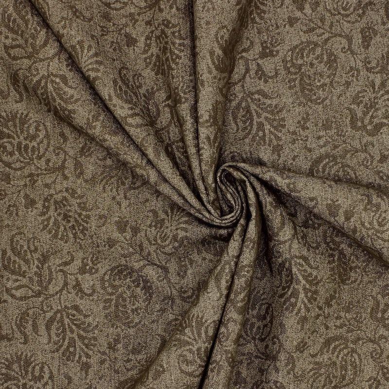 Tissu jeans extensible impression fleurs