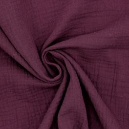 Tissu double gaze de coton purple