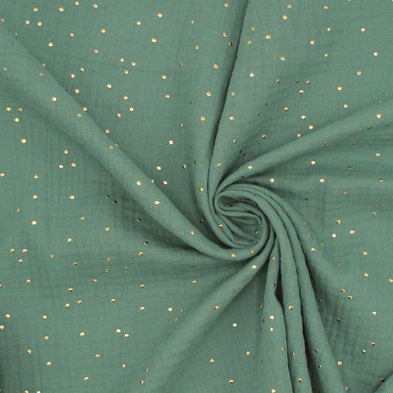 Tissu double gaze de coton eucalyptus à pois dorés