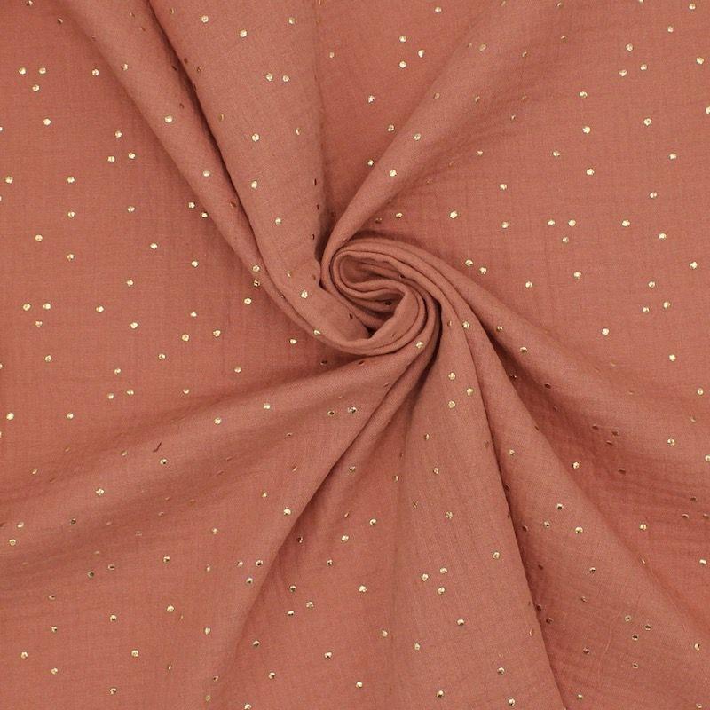 Tissu double gaze de coton marsala à pois dorés
