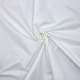 Double width white cotton and polyester fabric