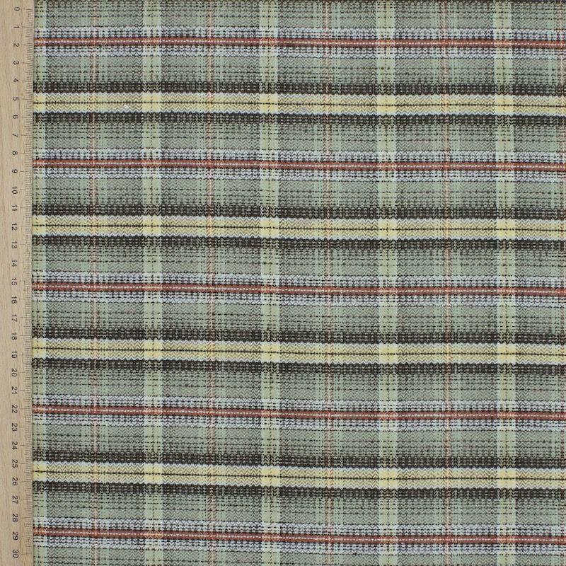 Tissu en coton et polyester gratté à carreaux vert, jaune et brique