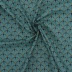 Tissu en coton à motifs éventail turquoise