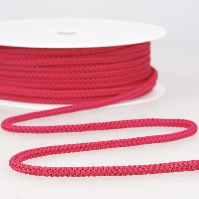 cordon tricoté rose framboise