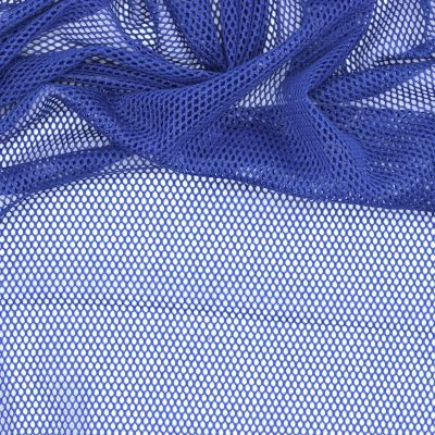 Extensible mesh fabric with cotton aspect - blue
