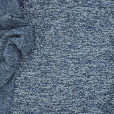 Tissu maille type tricot envers gratté bleu jean's