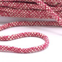 cordon en coton tressé fushia