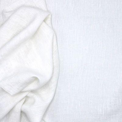 Tissu en 100% lin lavé uni blanc