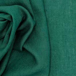 Tissu en 100% lin lavé uni vert bouteille