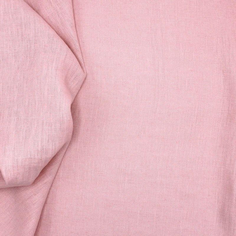 Tissu en 100% lin lavé uni rose nectar