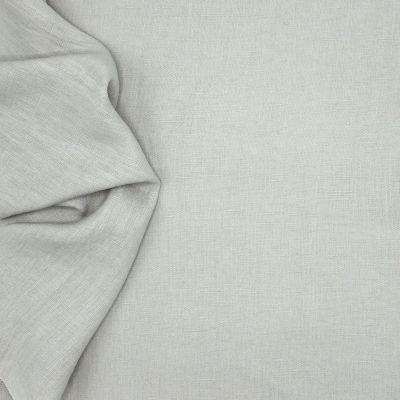 Tissu en 100% lin lavé uni gris perle