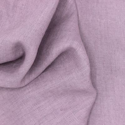 Tissu en 100% lin lavé uni parme
