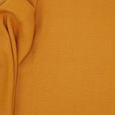 Tissu en 100% lin lavé uni orange marmelade