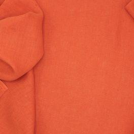 Tissu en 100% lin lavé uni mandarine