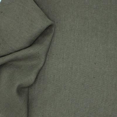 Tissu en 100% lin lavé uni gris