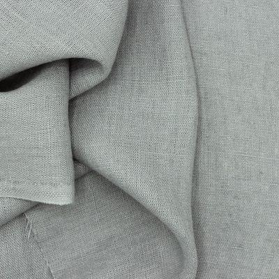 Tissu en 100% lin lavé uni gris souris