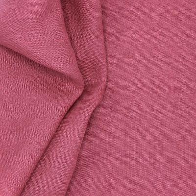 Tissu en 100% lin lavé uni framboise