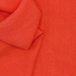 Tissu en 100% lin lavé uni corail