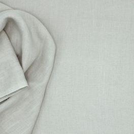 Tissu en 100% lin lavé uni  gris brouillard