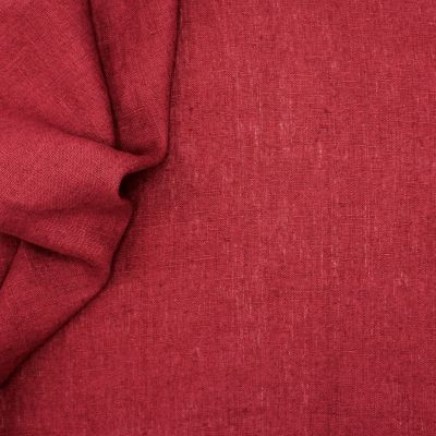 Tissu en 100% lin lavé uni bordeaux