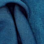 Tissu en 100% lin lavé uni bleu pétrole