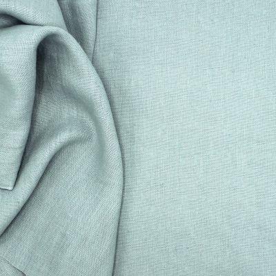 Tissu en 100% lin lavé uni bleu gris