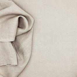 Tissu en 100% lin lavé uni beige