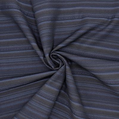Tissu extensible à rayures marron et bleu