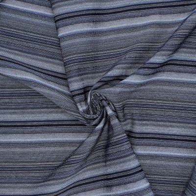 Tissu extensible à rayures gris et bleu