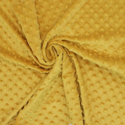 Velours Minkee  à pois en relief  moutarde