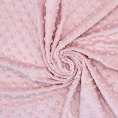 Velours Minkee  à pois en relief rose poudré