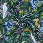 Tissu jersey oiseaux sur fond vert