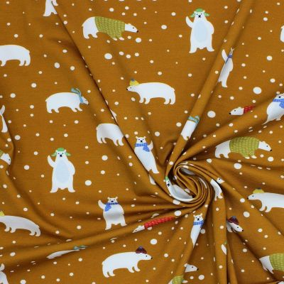 Jersey fabric printed with hipster dog