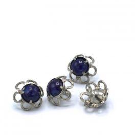 Bouton vintage bleu et métal argenté 15mm