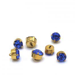 Bouton vintage bleu et doré