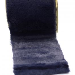 Ruban fourrure acrylique 10cm marine