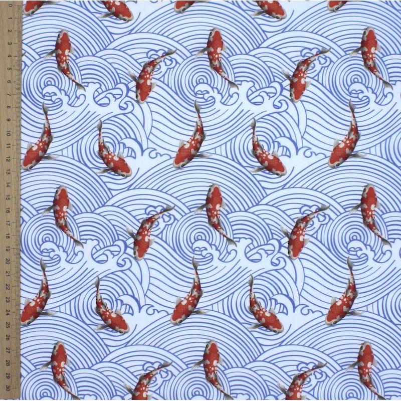 Tissu en coton imprimé koi